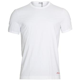Dolce & Gabbana FUEBO Crew Neck Stretch Cotton T-Shirt, White With Red Logo, Small