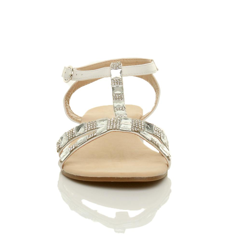 ankle t strap summer sandals Ajvani diamante gems flat low womens shoes bar heel HWxnC1wF