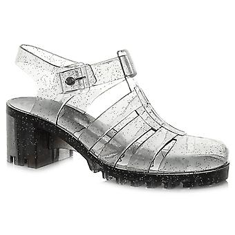 Ajvani womens low mid block heel rubber jelly gladiator cut out retro sandals shoes