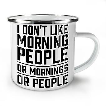 Morning People Joke NEW WhiteTea Coffee Enamel Mug10 oz   Wellcoda