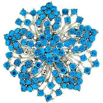 Brooches Store Aqua Blue and Silver Flower Snowflake Brooch