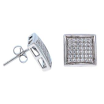 925 sterling silver MICRO PAVE earrings - WIDE 12 mm