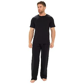 Tom Franks Mens Plain Cotton Short Sleeve Top Lounge Pyjamas