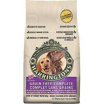 Harringtons korn-omkostningsfrit komplet hund tørfoder rige i Tyrkiet med grønt, 1,75 kg