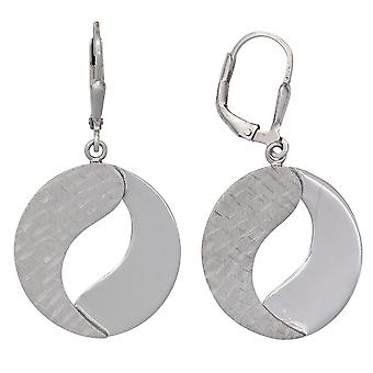 925 sterling silver rhodium plated boutons earrings partly frosted