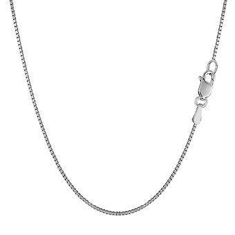 18k White Solid Gold Mirror Box Chain Necklace, 0.8mm