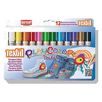 Playcolor Textil Pocket 5g Solid Paint Stick (Pack of 12 - Assorted Colours)