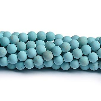 Strand 60+ Turquoise Magnesite 6mm Frosted Plain Round Beads CB49396-2
