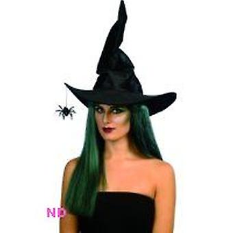 Witch's Hat Black Velour With Hanging Spider