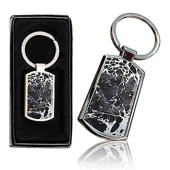 i-Tronixs - Premium Marble Design Chrome Metal Keyring with Free Gift Box (2-Pack) - 0029