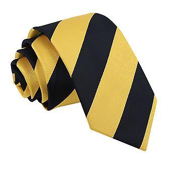 Gul & svart stripete slank slips