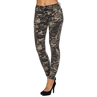 Ladies Stretch Jeans Camouflage Army Army Military Camouflage Push shape tube slim blogger