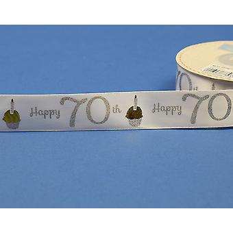 25mm White Happy 70th Birthday Printed Ribbon - 20m | Ribbons & Bows for Crafts