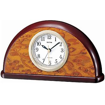 Style alarm clock table clock quartz clock rhythm in wood case with Walnut Finish