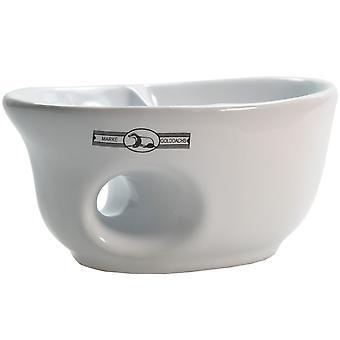 weisser Keramik-Rasiermug ovale Form - für gute Handhabung sorgt ein Eingriff - mit Pinselablage