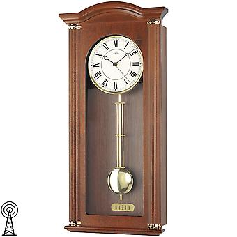 Radio controlled wall clock with pendulum wall clock radio pendulum wooden cabinet Walnut lacquered