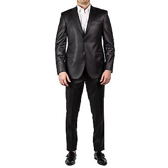 Slim Fit laine deux bouton couleur Charcoal Luciano Barbera Club masculin