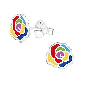 Rose - 925 Sterling Silver Colourful Ear Studs - W37140x