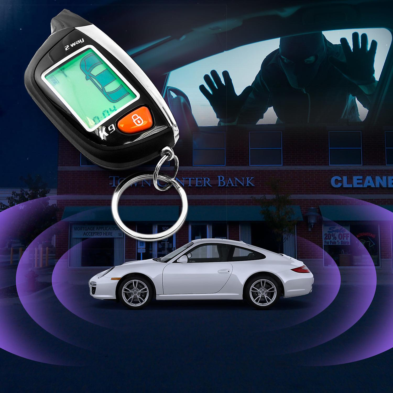 2-Way Car Alarm Security Alarm with LCD Status Display and Remote Engine  Start for