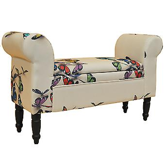 Butterfly - Storage Ottoman Chaise Pouffe Stool / Wood Legs - Cream / Multi