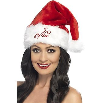 Naughty or Nice Santa Hat, RED & WHITE