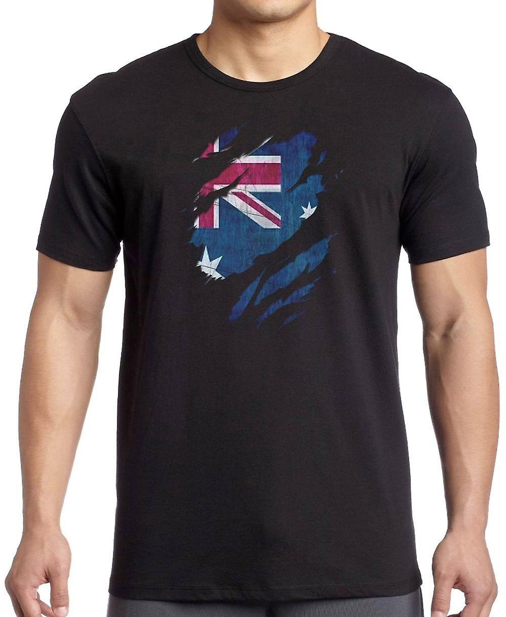 Australian Grunge Flag Ripped Effect Kids T Shirt