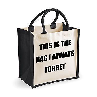 Sac de Jute noir moyen que c'est le sac que j'oublie toujours