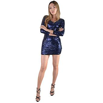 Lovemystyle Long Sleeved Short Blue Sequin Dress