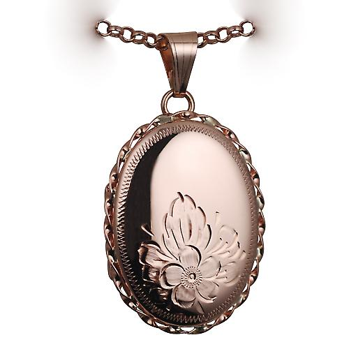 9ct Rose Gold 29x22mm half hand engraved flowers oval twisted wire edge Locket with a belcher Chain 16 inches Only Suitable for Children