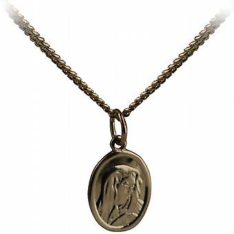 9ct Gold 14x11mm oval Our Lady of Sorrows Pendant with a curb Chain 16 inches Only Suitable for Children