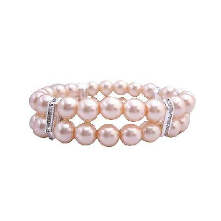 Peach Pearls Stretchable Bracelet Double Stranded Bracelets