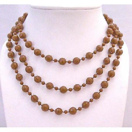 Striking Brown Long Necklace Small Big Beads Long Necklace 54 Inches