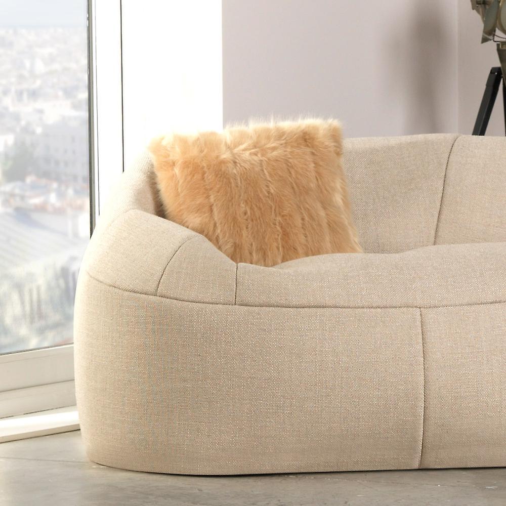 Icon® Luxury Faux Fur Cushion - Champagne, 43cm x 43cm - Decorative Scatter Cushion