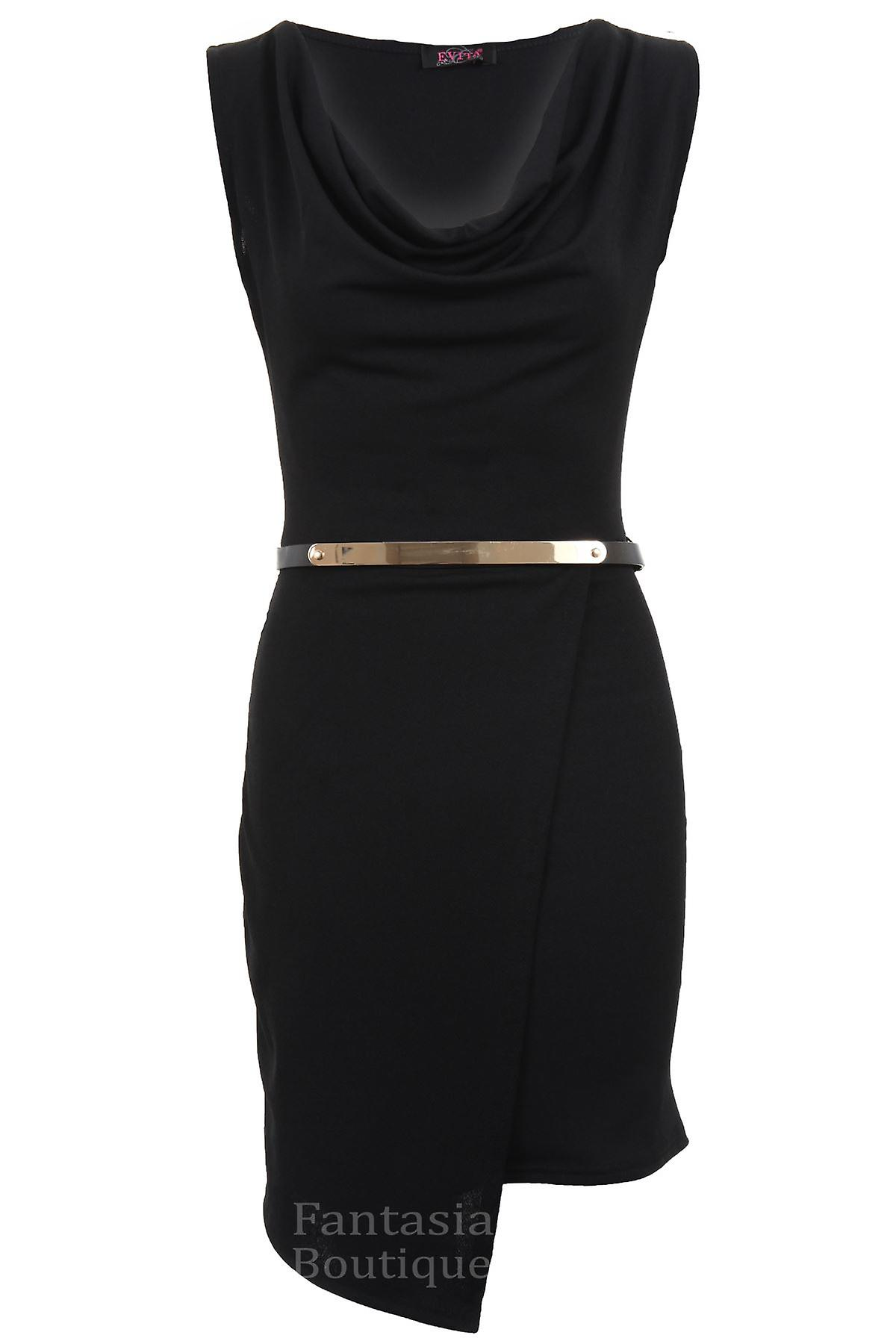 Ladies Cowl Neck Plain Sleeveless Waterfall Gold Belted Bodycon Women's Dress