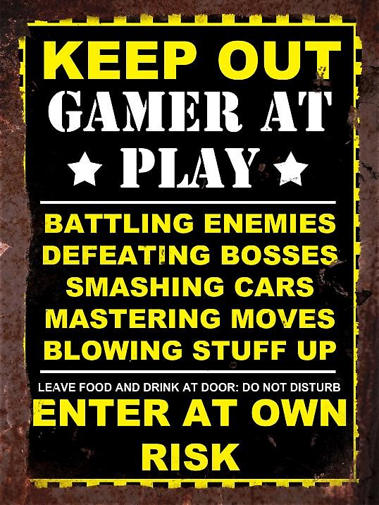 Vintage Metal Wall Sign - Keep out gamer at play