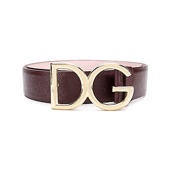 Dolce E Gabbana Burgundy Leather Belt