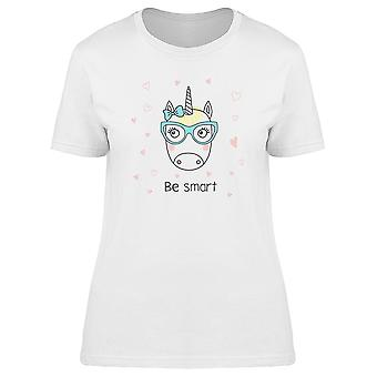 Unicorn Girl In Glasses Be Smart Tee Women's -Image by Shutterstock