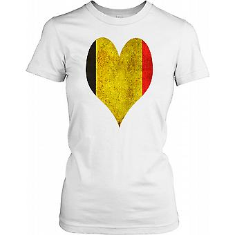 Grunge Belgium Heart Flag Ladies T Shirt