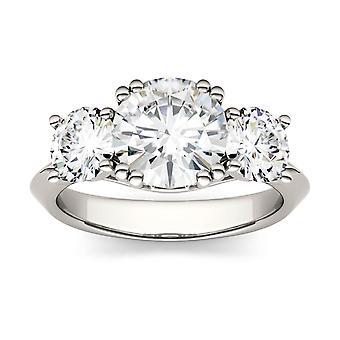 14K białe złoto Moissanite przez Charles idealna Colvard 8mm okrągłe pierścionek zaręczynowy, 3.10cttw rosy