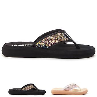 Womens Rocket Dog Solar Power Spotlight Glitter Beach Toe Post Flip Flops