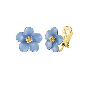 afd40b354 Eternal Collection Anemone Blue Enamel Gold Tone Stud Clip On Earrings