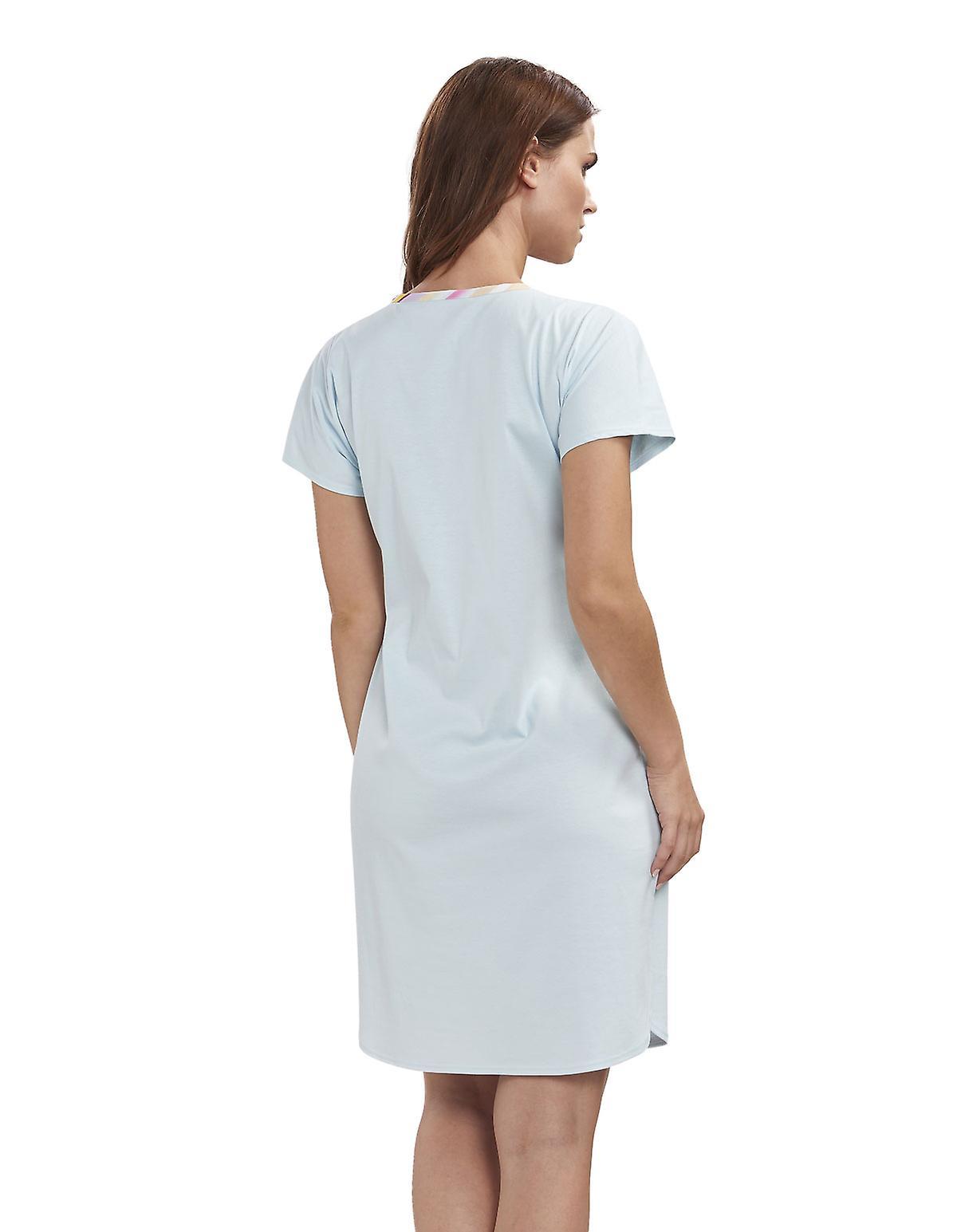 Feraud 3191344-16502 Women's High Class Soft Turquoise Cotton Night Gown Loungewear Nightdress