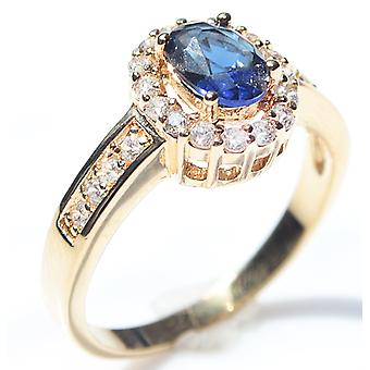 Ah! Jewellery Blue Sapphire Surrounded By Brilliant Rounds Ring, Gold Filled