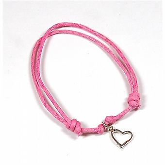 Jo For Girls 925 Silver Pink Cord Bracelet With Heart