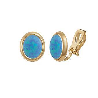 Eterna colección Minué ópalo azul luz dorado Stud Clip pendientes (MM)