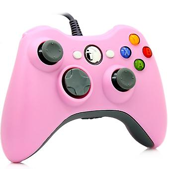 Kontroler przewodowy dla Windows i Xbox 360-różowy
