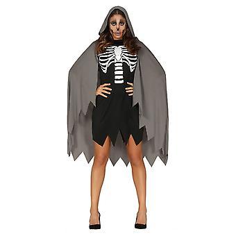 Costume de robe de fantaisie d'Halloween de squelette de femme
