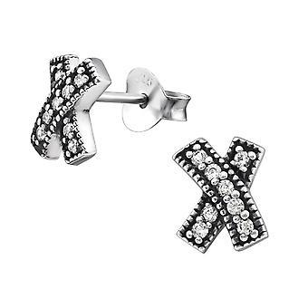 Cross - 925 Sterling Silver Cubic Zirconia Ear Studs - W30823X