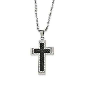 Stainless Steel Polished Black Ip-plated Cubic Zirconia Cross Necklace - 22 Inch