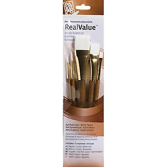 Real Value Brush Set Synthetic White Taklon Round 1,4, Shader 6, Wash 5 8,1 P9144